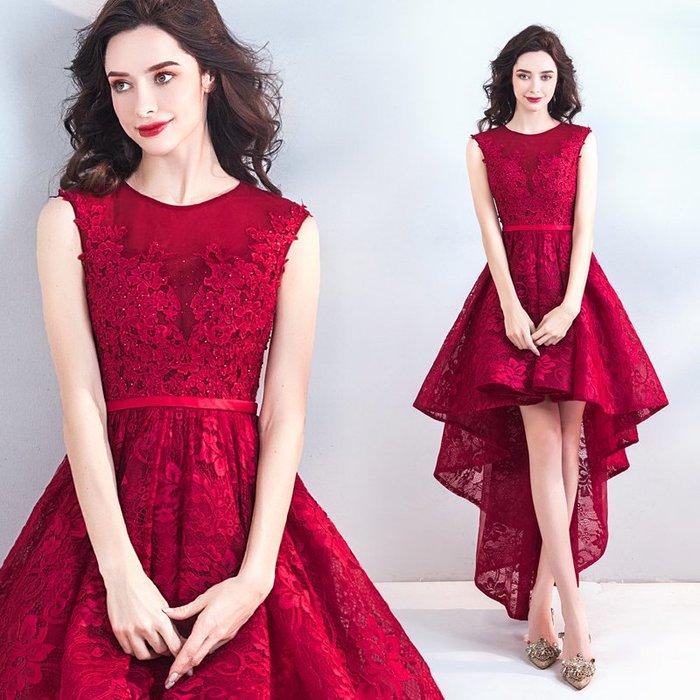 新年婚禮禮服婚紗禮服宴會禮服浪漫風情酒紅色前短后長款新娘婚紗禮服結婚敬酒服
