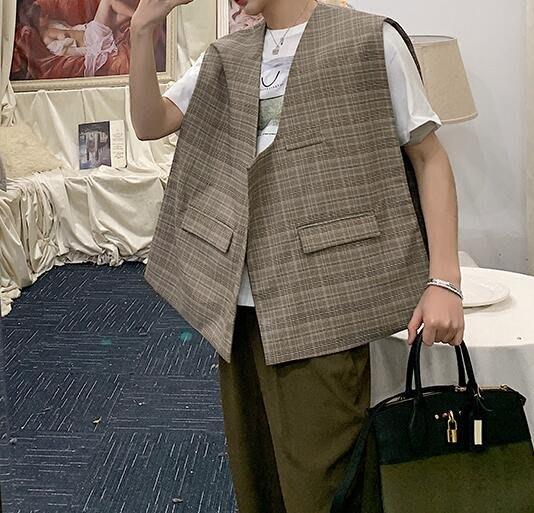 FINDSENSE品牌2019 新春 新款 韓國  無袖 馬甲 個性 格子 不對稱  時尚 復古 潮流上衣 外套