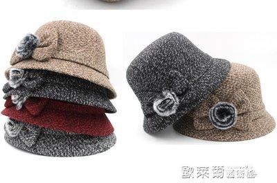 發帽 盆帽女士保暖漁夫帽加絨蝴蝶結