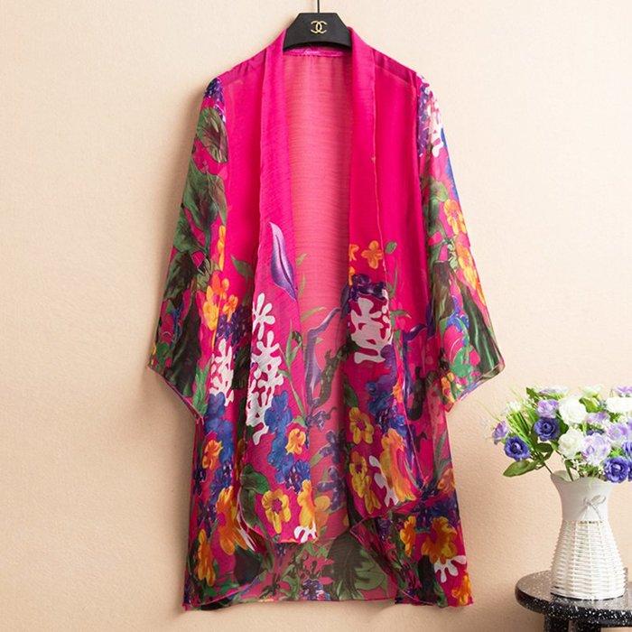 創意 民族風服飾 民族風女裝夏季雪紡披肩中長款百搭加肥加大七分袖薄款開衫外套女