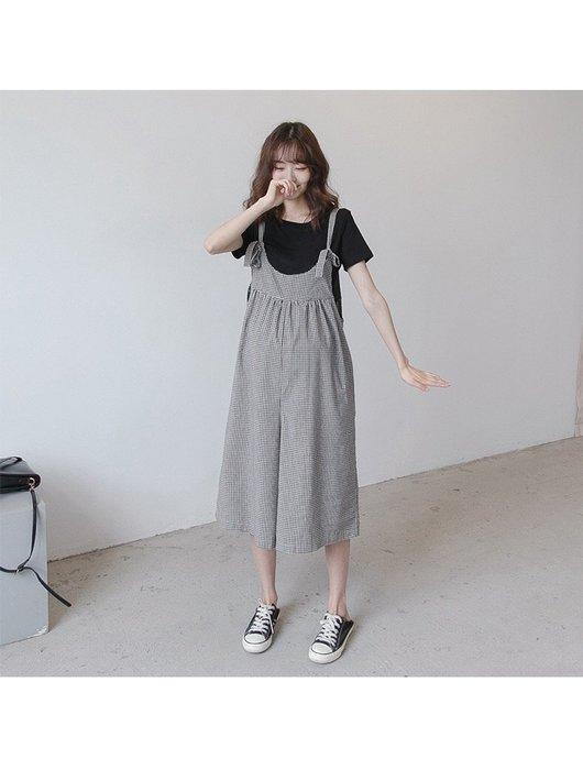 【愛媽媽孕婦裝】韓國孕婦夏季孕婦裝新款時尚韓格子孕婦背帶褲闊腿褲子寬松大碼休閒潮媽