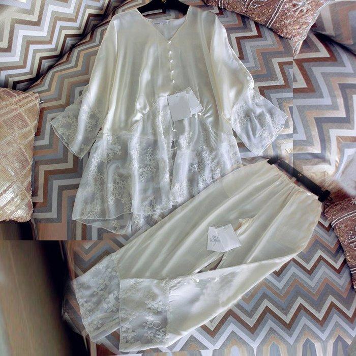 流行 居家服 正韓春秋真絲睡衣女性感兩件套長褲長袖套裝夏季大碼家居服絲綢夏天7-12