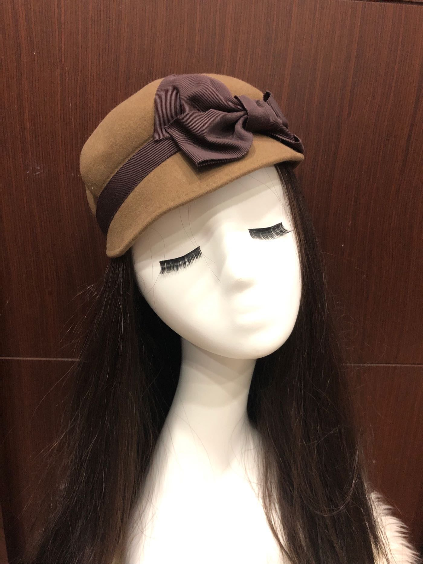 9新日本名牌CA4LA 稀有棕色絲帶羊毛帽 意大利製