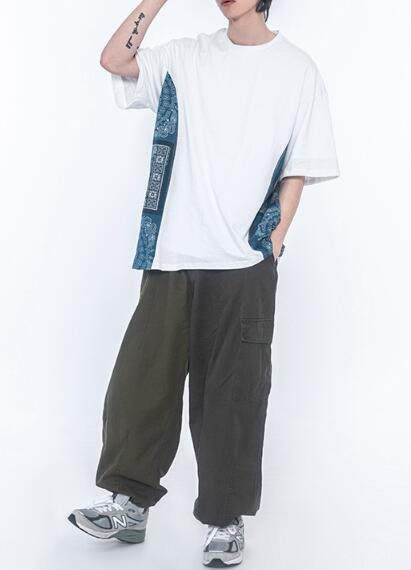 FINDSENSE X 男款 時尚 寬鬆舒適日系男裝寬松腰果花拼接落肩男式短袖上衣