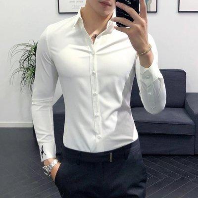 男士素面襯衫 純白色簡約百搭工裝襯衣免燙帥氣修身款英倫風潮