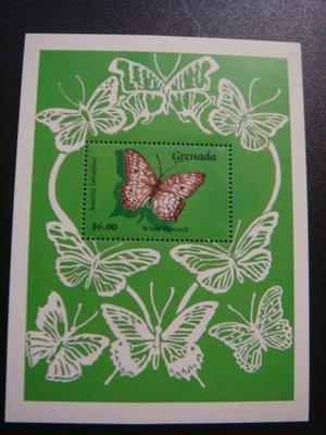 【大三元】BF16a各國蝴蝶專題系列-美洲郵票-格瑞那達-新票小全張