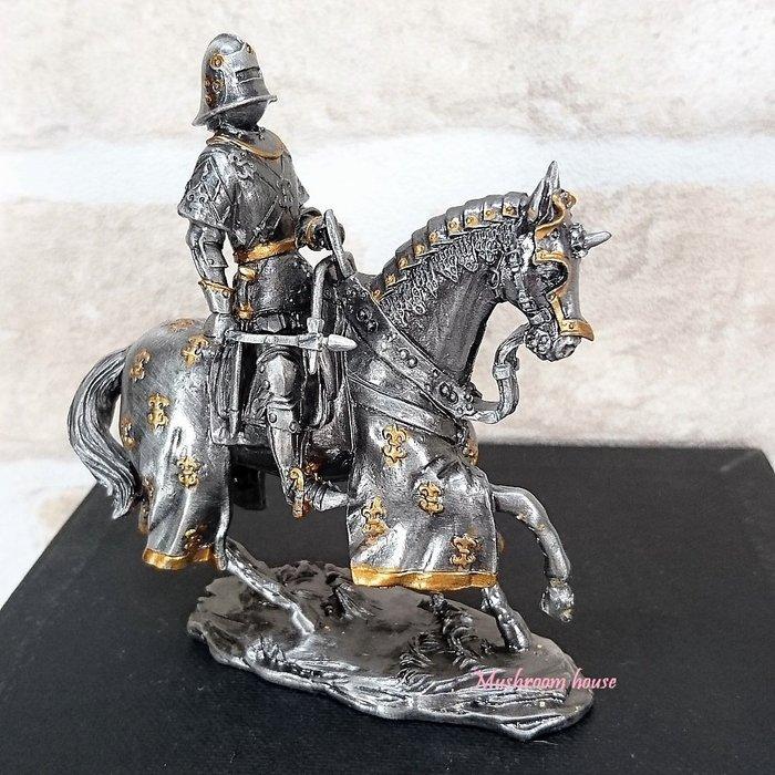 點點蘑菇屋{合金騎士擺飾}合金中古騎士(八)~左手拿韁繩 鐵甲武士 歐洲中古世紀羅馬 盔甲武士 現貨