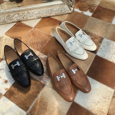HSA36-頂級真皮手工鞋-法國小愛款經典新款H扣復古平底真皮樂福鞋流蘇英倫風女士皮鞋