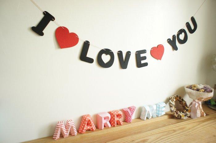 I LOVE YOU  不織布 字母吊飾 愛心拉花掛飾  求婚道具  自助婚紗道具  現貨 也有全紅色