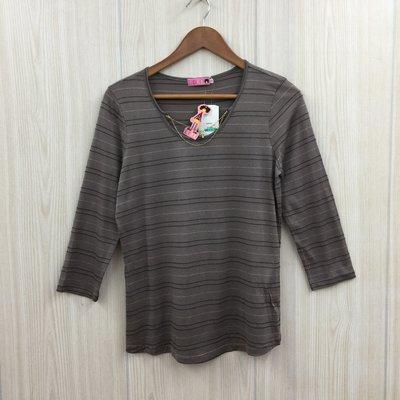 【愛莎&嵐】FFFF 女 灰色鍊子領條紋上衣 / L (全新) 1071122