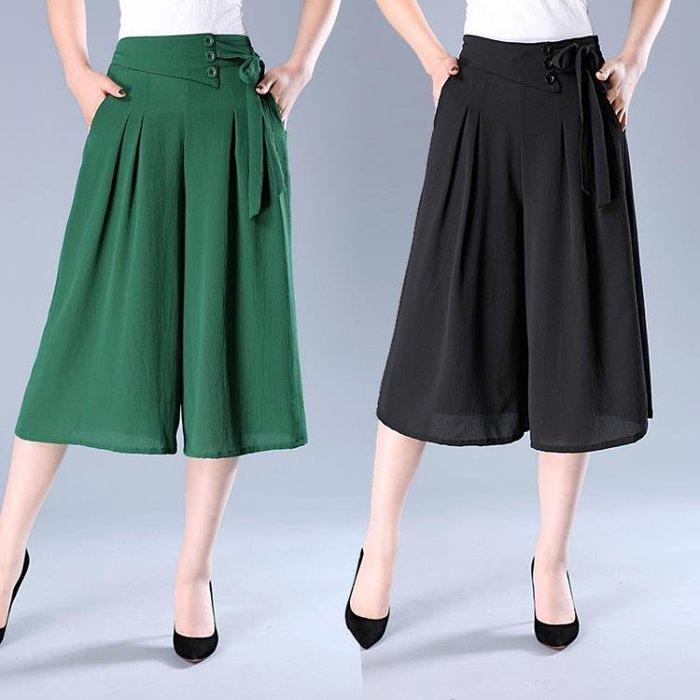 夏季媽媽裝雪紡褲女寬鬆闊腿七分褲中年女裝裙褲鬆緊高腰寬腿褲子