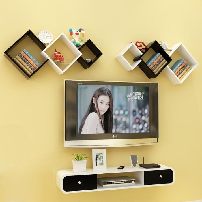連體三方形擱板層架 創意格子家居壁掛烤漆隔板墻上置物架WY