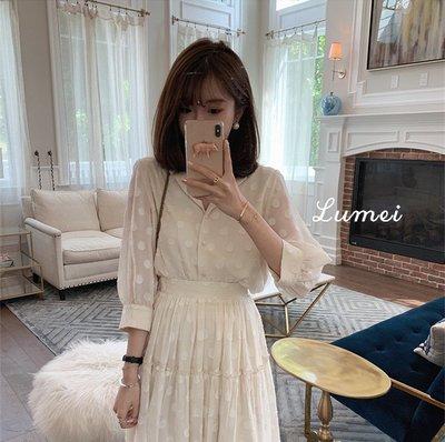 【LUMEI】神奇的3色法國小眾點點襯衫裙 套裝分開賣