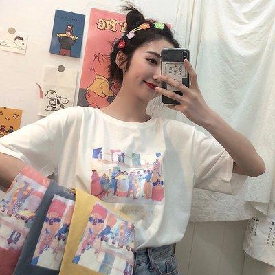 小香風 短袖T恤 時尚穿搭 小清新寬松卡通印花圓領網紅白色短袖T恤女上衣ins潮