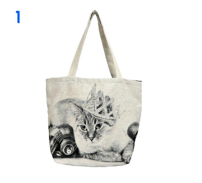 《齊洛瓦鄉村風雜貨》日本zakka雜貨 提花布貓咪造型托特包 手提包 帆布包 肩背包 日本絕版品