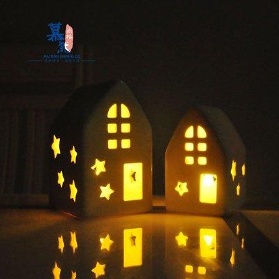 宏美飾品館~外貿北歐高溫陶瓷髪光房子燭臺擺件 家居圣誕節日擺件裝飾品禮物