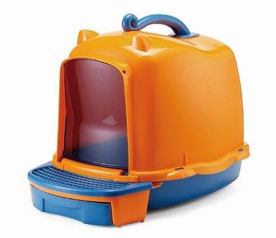 【優比寵物】台灣ACEPET皇冠872-A舒活橘色藍底(落砂板+儲存盒)貓便屋/ 貓砂屋/ 貓沙屋(可加購內襯網篩變雙層) 高雄市
