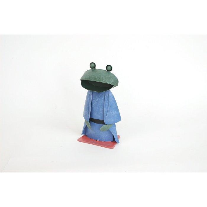 《齊洛瓦鄉村風雜貨》日本雜貨zakka 復古仿舊鐵製青蛙情侶擺飾 日式和服造型蛙蛙 日式青蛙居家擺飾 店家佈置 (男生)