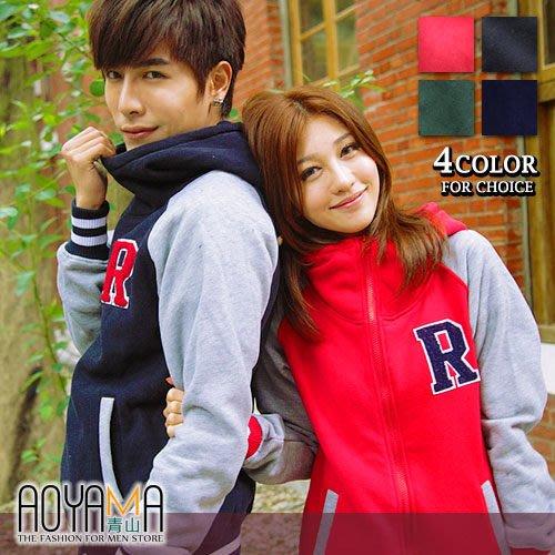 [青山~AOYAMA ] 韓版雜誌款新品羅紋配色重磅刷毛立領棒球外套 情侶款4色【AR9158】