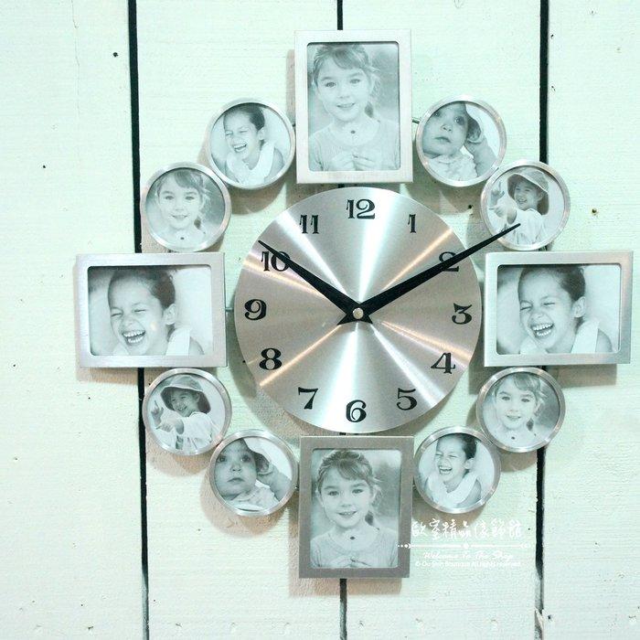 ~*歐室精品傢飾館*~新時尚 現代 簡約 鐵製 相框 相片 銀色 摩天輪 放射 造型 時鐘 掛鐘 居家 民宿~新款上市~