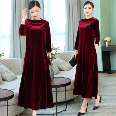 連身裙女秋季寬鬆金絲絨立領氣質顯瘦a字裙時尚打底裙洋裝