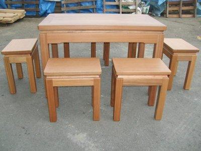 A032 {崙頂傳統原木家具行}~邊框實木餐桌配實木椅跟 接受訂作 訂色 多款選擇