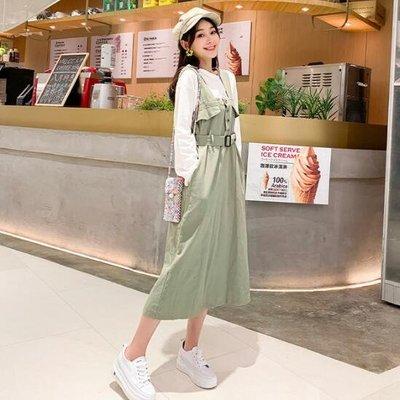 正韓 洋裝 學院風甜美工裝吊帶裙 日系連身裙 莎芭