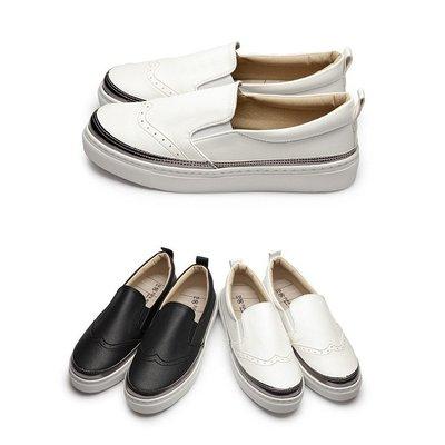 【富發牌】皮質滾銀邊雕花休閒鞋-黑/白 1BD27【采靚鞋包精品】