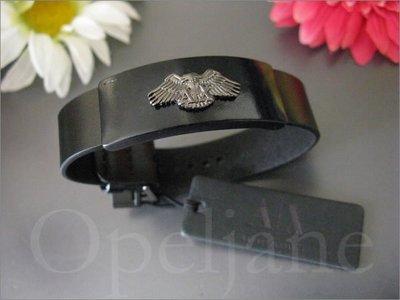 美國真品 A|X Armani Exchange AX 亞曼尼 阿曼尼 老鷹金屬商標 黑色真皮 手鍊 手環 免運費