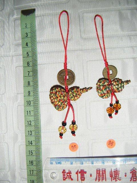 中國結工藝舖 純手工 葫蘆 五色線 招財 平安 古錢 祝福 手機 包包 汽車掛飾 - 搭配五行風