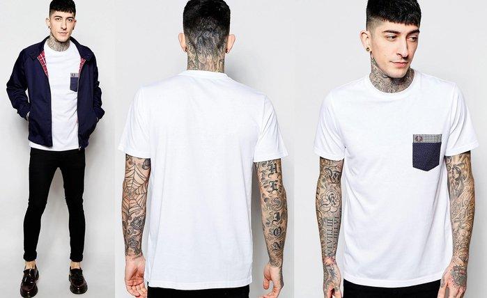 ◎美國代買◎ASOS代買Fred Perry格子與點點印花拼接口袋裝飾白色logo圓領短袖tee上衣~歐美街風~大尺碼