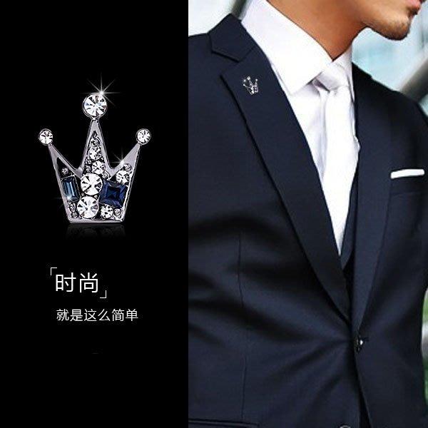 韓版小皇冠胸針領針男襯衫領扣水晶胸花扣針時尚徽章勛章西裝領花#胸針#別針#胸花