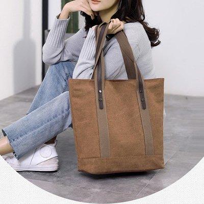 夏新品帆布包包女單肩手提大容量森系時尚布包女包OL簡約通勤