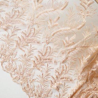 橙子的店 W236杏色亮片精致釘珠定位繡花刺繡軟網紗蕾絲布料連衣裙服裝面料