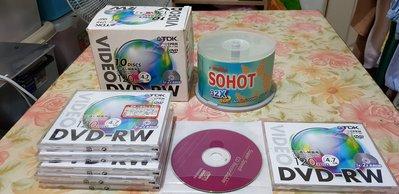 TDK 1x-2x DVD-RW空片.DVD可覆寫燒錄單片.有CPRM. 6片一起賣再送12片CD-R空白片
