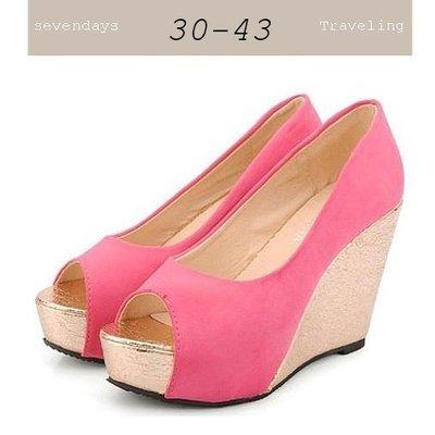 大尺碼女鞋小尺碼女鞋新款魚口百搭楔型跟鞋厚底鞋三色桃紅色(30-43小尺碼大尺碼)現貨#七日旅行