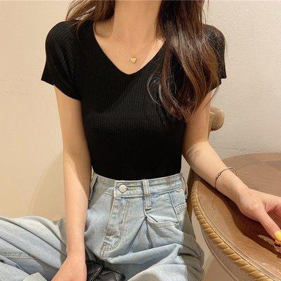 夏季2020新款黑色百搭修身顯瘦V領短袖T恤韓版短款針織衫上衣女潮