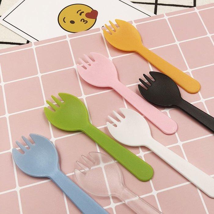 預售款--獨立包裝蛋糕甜品水果叉一次性透明塑料磨砂叉勺一體三齒食品餐具#禮盒#簡約#彩色帶#裝飾帶#彩色條