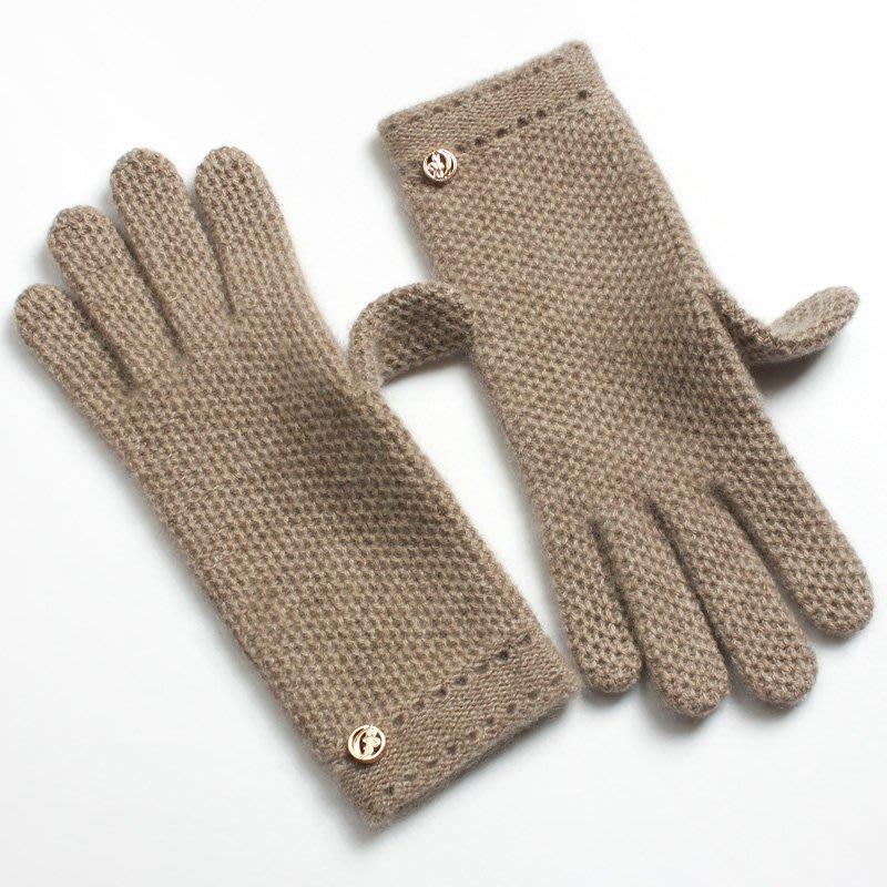 秋冬季新觸摸屏觸控韓日系羊毛線學生針織簡約純羊絨手套保暖女式