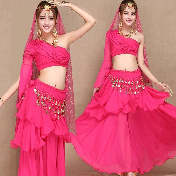 5Cgo【鴿樓】含稅42548714942肚皮舞套裝印度舞蹈裙裝練習練功服舞蹈表演演出服舞衣舞裙含腰鏈頭紗頭飾斜肩上衣