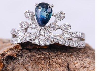 天然藍寶石鑽戒(頭等艙精品)镀白金活口戒指 現貨庫存 不用等