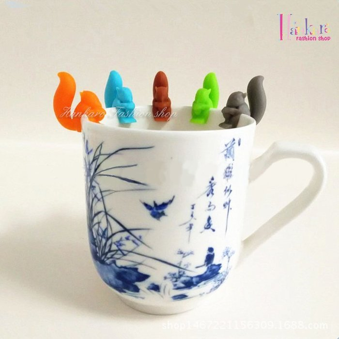 ☆[Hankaro]☆ 創意趣味矽膠松鼠造型杯子識別器5色一組