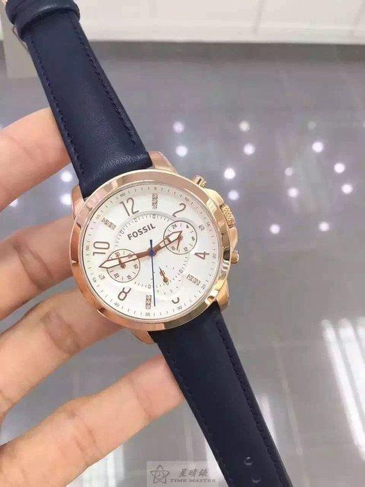 最新款這個好看美國FOSSIL.石英女錶 多功能計時款 38mm表盤點鑽刻度藏藍牛皮錶帶50米防水.正品貨國際聯保2年