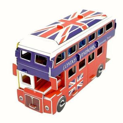 3D立體拼圖 雙層巴士 double decker bus ~企鵝與小花~親子DIY