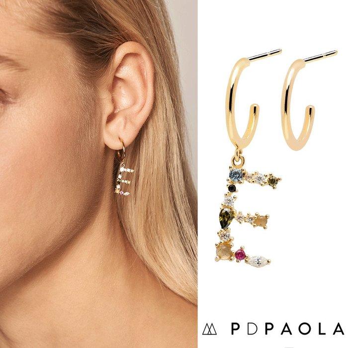 PD PAOLA 西班牙時尚潮牌 金色E字母耳環 彩鑽耳環 925純銀鑲18K金