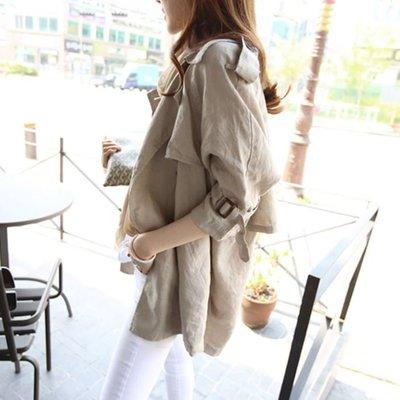 M SELECT 超好看 春款 薄款 短版棉料風衣外套 韓版中長款七分袖小個子寬鬆 春秋薄款風衣外套 實拍