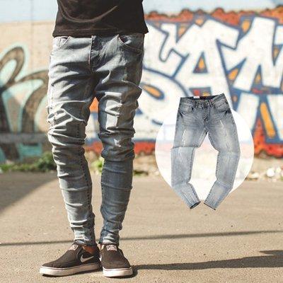 柒零年代【NB0510J】淺藍微刷色不修邊褲管彈力牛仔褲(UC8207)