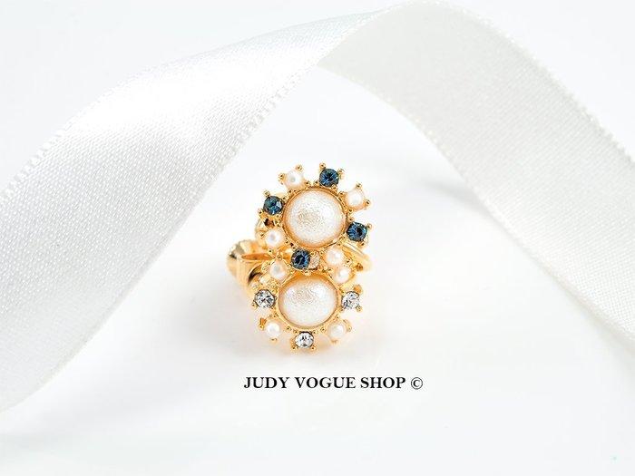 韓國 耳環 輕奢華復古金棉珠耳環 夾式 低調氣質 共兩色 JUDY VOGUE SHOP【JES-0020】