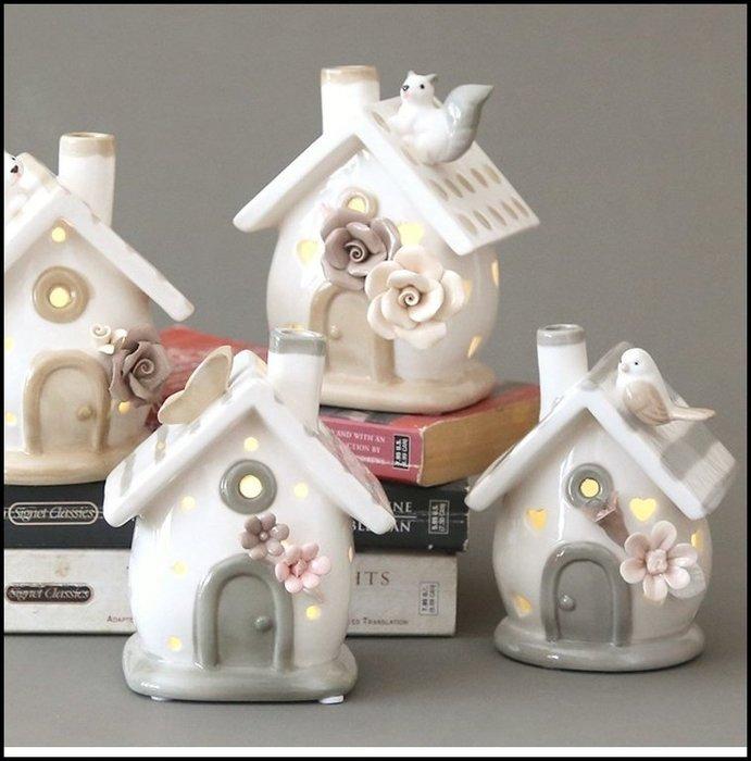 白色陶瓷LED燈小夜燈擺飾 咖啡色條紋房屋造型玫瑰花小鳥貓咪松鼠蝴蝶屋型造型燈床頭燈藝術燈 鄉村風浪漫滿屋燈【歐舍家飾】