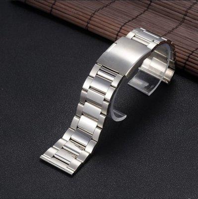 錶帶屋  18mm 20mm 22mm 24mm 26mm平頭實心亮面不銹鋼替代各式相容原廠錶帶三星 LG